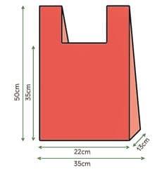 Sacchetto di Plastica Canottiera 35x50cm Rosso (200 Pezzi)