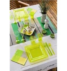 Piatto Plastica Rigida Quadrato Verde 18x18cm (6 Pezzi)