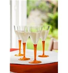 Calice di Plastica Vino Gambo Arancione 130ml (60 Pezzi)