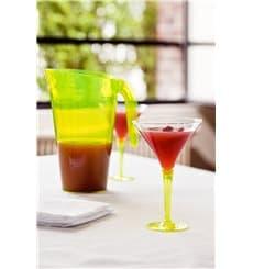 Coppa di Plastica Cocktail con Gambo Verde 100 ml (6 Pezzi)