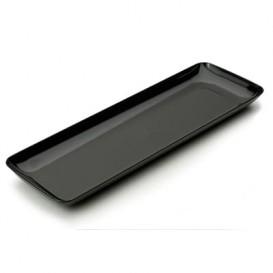 Vassoio Plastica Rettangolare Degustazione Nero 6x19 cm (20 Pezzi)