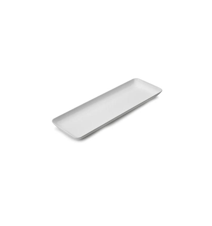 Vassoio Plastica Rettangolare Degustazione Bianco 6x19 cm (20 Pezzi)