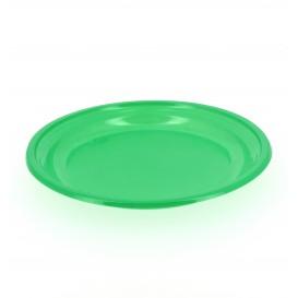 Piatto di Plastica Piano Verde 205mm (10 Pezzi)