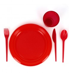 Coltello di Plastica PS Rosso 165 mm (15 Pezzi)