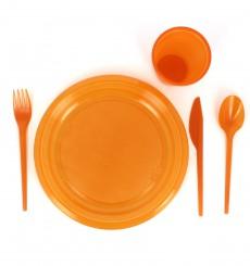 Coltello di Plastica PS Arancione 165 mm (15 Pezzi)