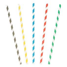 Cannuccia Dritta di Carta strisce assortim. Ø6mm 20cm (250 Pezzi)