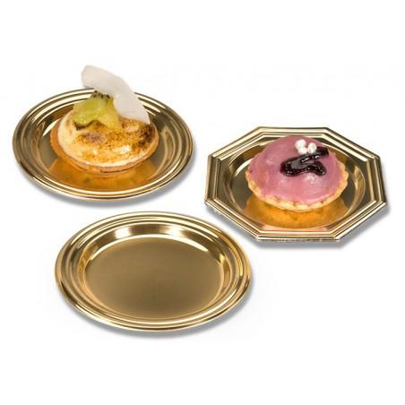 Piattino di Plastica Dessert Ottagonale Oro 8 cm (125 Pezzi)