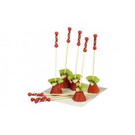 Spiedi di Bamboo Rosso 120 mm (100 Pezzi)