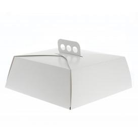 Scatola di Carta Bianca Torte Quadrata 24,5x24,5x10 cm (50 Pezzi)