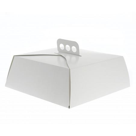 Scatola di Carta Bianca Torte Quadrata 27,5x27,5x10 cm (50 Pezzi)