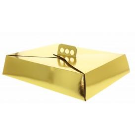 Scatola di Carta per Torte Oro 26,5x35,5x8 cm (50 Pezzi)