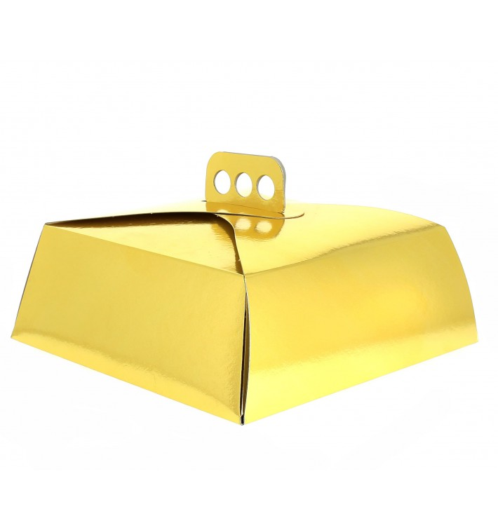 Scatola di Carta per Torte Oro 27,5x27,5x10 cm (50 Pezzi)