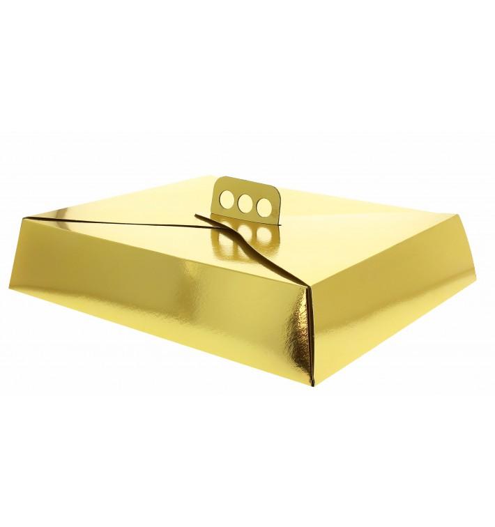 Scatola di Carta per Torte Oro 32,5x39,5x8 cm (50 Pezzi)