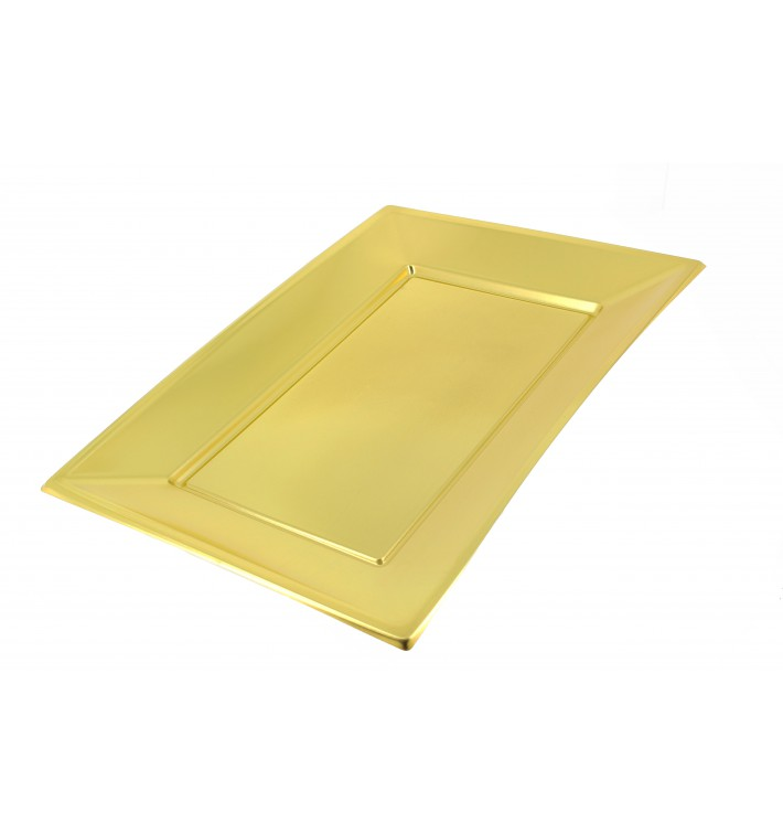Vassoio Plastica Oro 330x225mm (12 Pezzi)