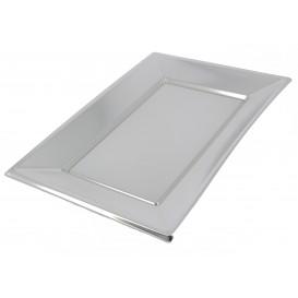 Vassoio Plastica Argento 330x230mm (12 Pezzi)