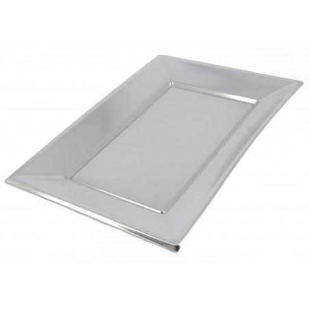 Vassoio Plastica Argento 330x225mm (12 Pezzi)