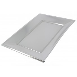 Vassoio Plastica Argento 330x230mm (2 Pezzi)