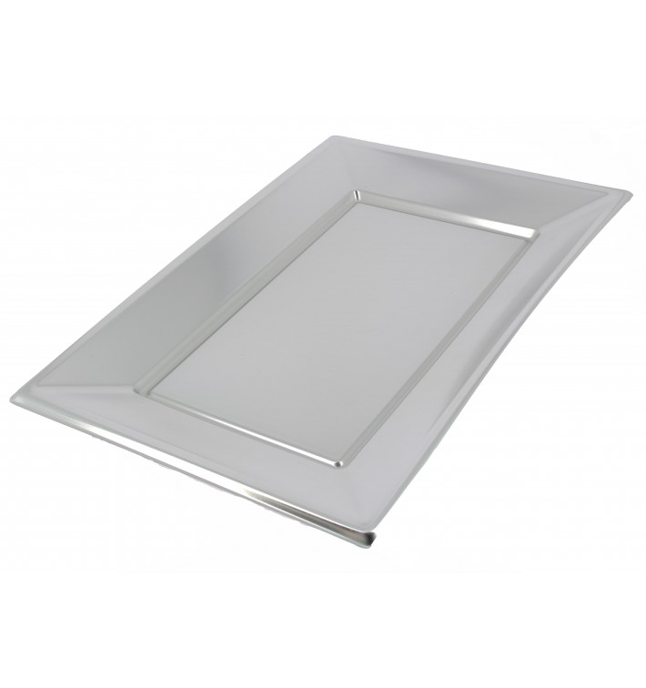 Vassoio Plastica Argento 330x225mm (2 Pezzi)