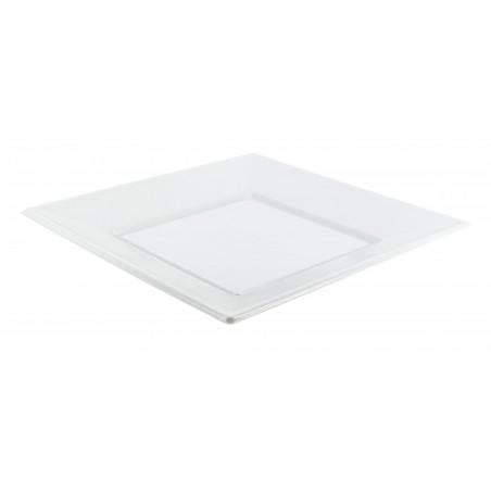 Piatto Plastica Piano Quadrato Bianco 230mm (25 Pezzi)