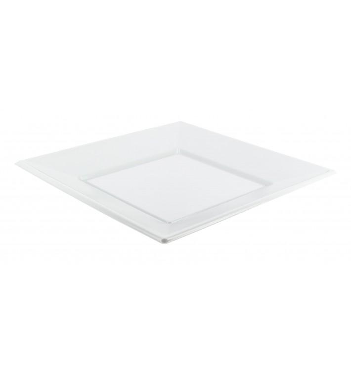 Piatto Plastica Piano Quadrato Bianco 230mm (750 Pezzi)