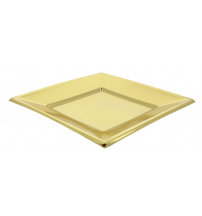 Piatto Plastica Piano Quadrato Oro 180mm (25 Pezzi)
