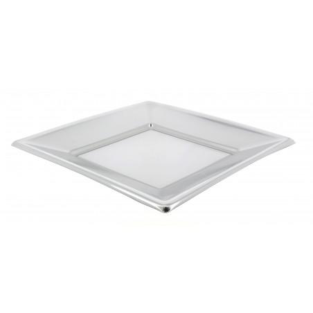 Piatto di Plastica Piano Quadrato Argento 180mm (25 Pezzi)