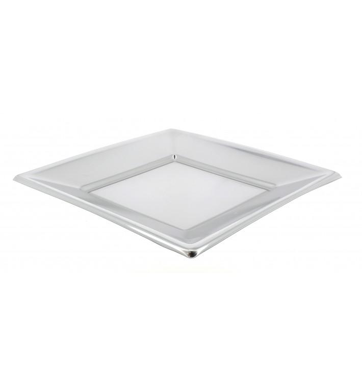 Piatto Plastica Piano Quadrato Argento 230mm (25 Pezzi)