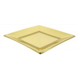 Piatto Plastica Piano Quadrato Oro 230mm (90 Pezzi)