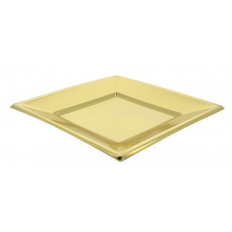 Piatto Plastica Piano Quadrato Oro 230mm (3 Pezzi)
