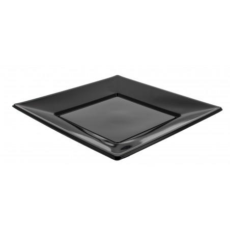 Piatto Plastica Piano Quadrato Nero 230mm (25 Pezzi)
