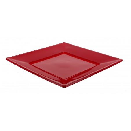 Piatto Plastica Piano Quadrato Bordò 230mm (25 Pezzi)