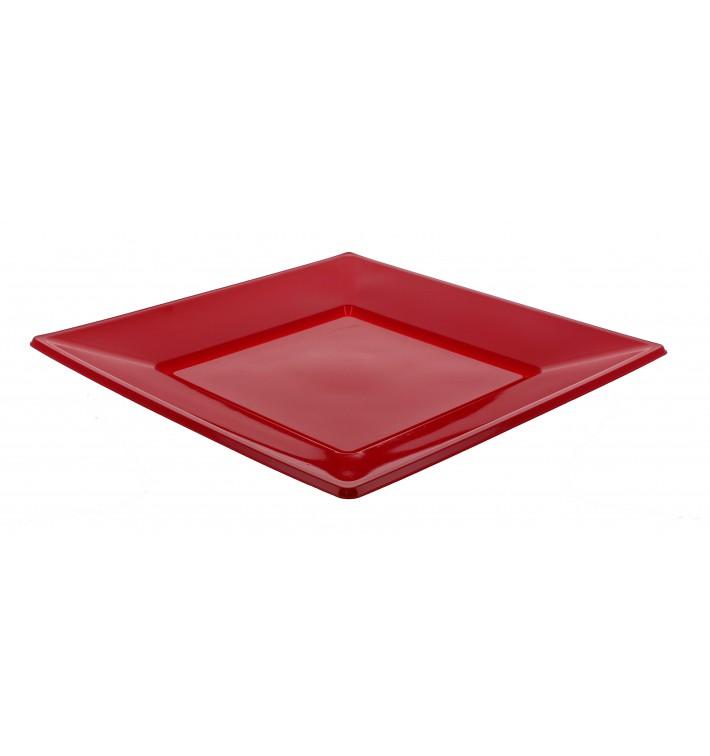 Piatto Plastica Piano Quadrato Bordò 230mm (750 Pezzi)