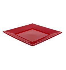 Piatto Plastica Piano Quadrato Bordò 230mm (375 Pezzi)