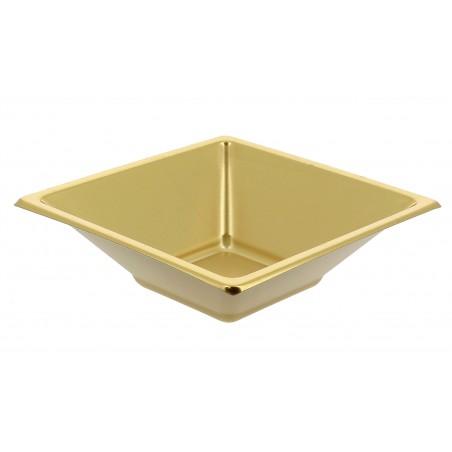 Ciotola Plastica PS Quadrato Oro 12x12cm (300 Pezzi)