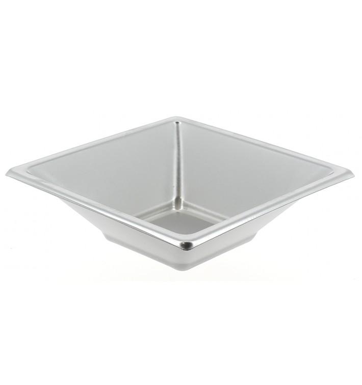 Ciotola Plastica PS Quadrato Argento 12x12cm (5 Pezzi)