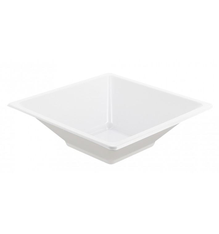 Ciotola Plastica PS Quadrato Bianco 12x12cm (25 Pezzi)