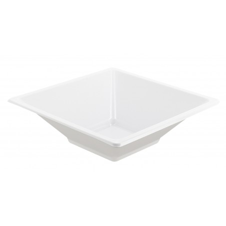 Ciotola Plastica Quadrato Bianco 120x120x40mm (25 Pezzi)