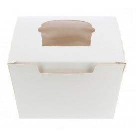 Scatola 1 Cupcake con Inserto 11x10x7,5cm Bianco (20 Pezzi)