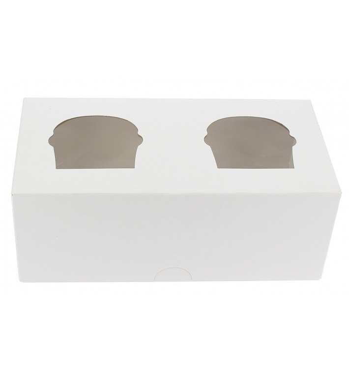 Scatola 2 Cupcakes con Inserto 19,5x10x7,5cm Bianco (20 Pezzi)