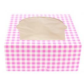 Scatola 4 Cupcakes con Inserto 17,3x16,5x7,5cm Rosa (140 Pezzi)