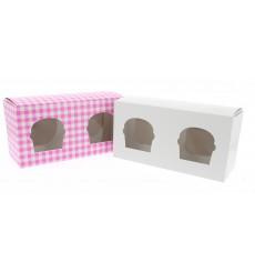 Scatola 2 Cupcakes con Inserto 19,5x10x7,5cm Rosa (20 Pezzi)