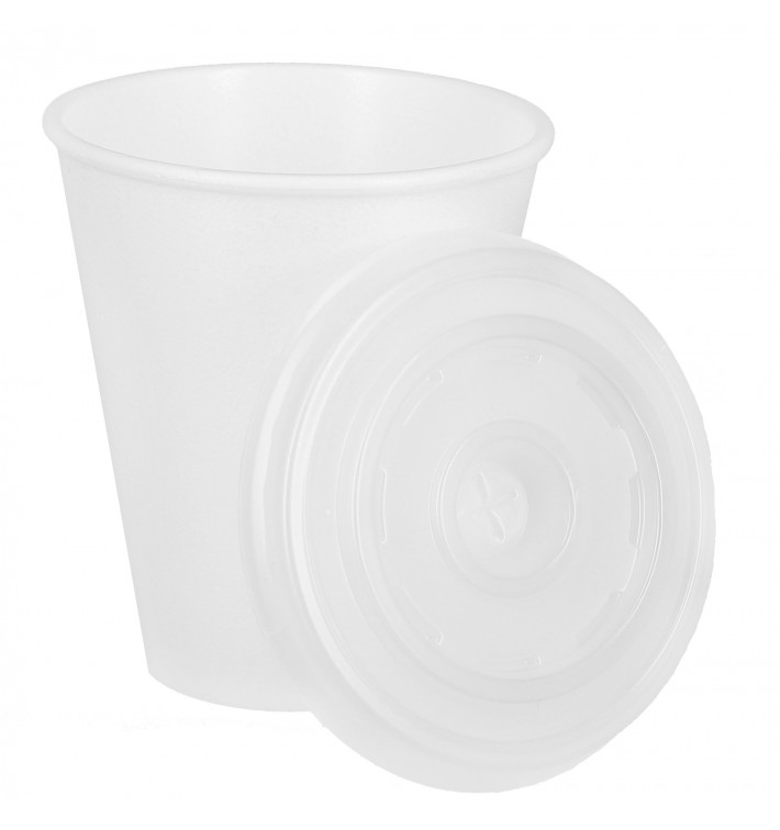 Bicchiere Termico EPS 7Oz/200ml Bianco+Coperchio (1.000 Pezzi)