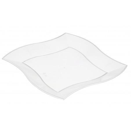 Piatto Plastica Piano Quadrato Onde Bianco 180mm (450 Pezzi)