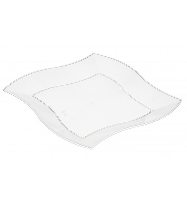 Piatto Plastica Piano Quadrato Onde Bianco 180 mm (6 Pezzi)
