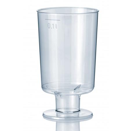 Calice di Plastica con Gambo 100 ml (15 Pezzi)