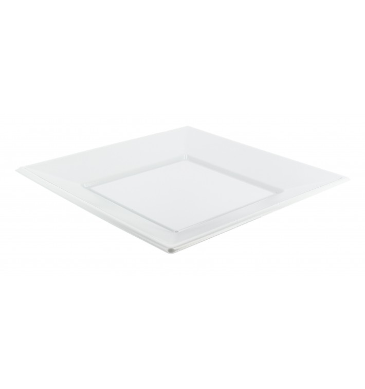 Piatto Plastica Piano Quadrato Bianco 230mm (300 Pezzi)