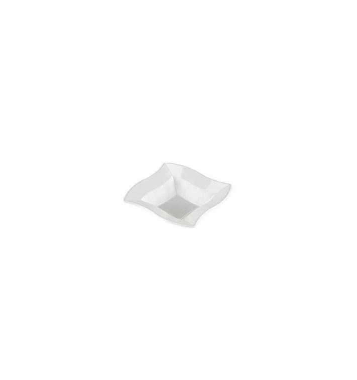 Bol Ondas Cuadrado en Plastico Blanco de 18 cm (Bolsas 6 Uds)
