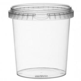 Coppette Plastico con Coperchio Inviolabile 870ml Ø11,8 (19 Pezzi)