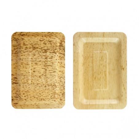 Piatto Rettangolare di Bambu 200x140x10mm (10 Pezzi)