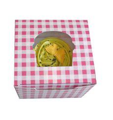 Scatola 1 Cupcake con Inserto 11x10x7,5cm Rosa (20 Pezzi)